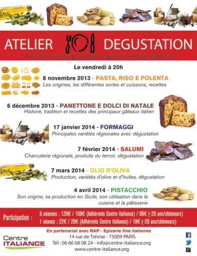 Dégustation gastronomie italienne Italiance Paris