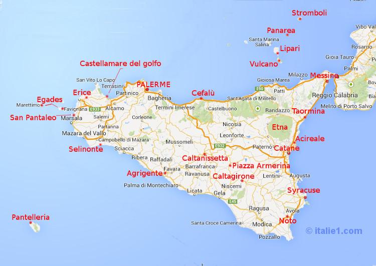 Carte de la Sicile italie1.com