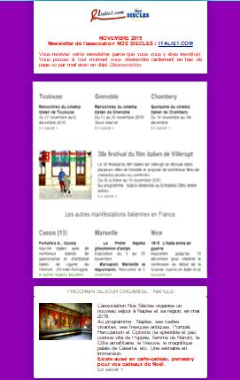 Newsletter italie novembre 2015